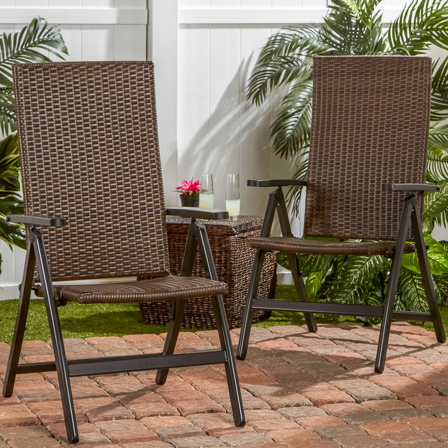 hand woven pe wicker outdoor reclining chairs set of 2 walmart com