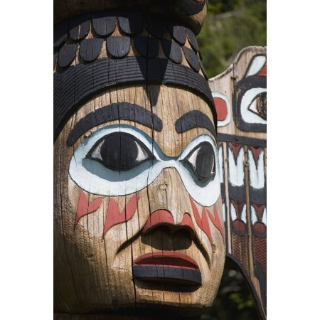 Detail of a figure carved into a Totem Pole Totem Bight State Historical Park Ketchikan Southeast Alaska USA Spring Canvas Art - Kevin Smith Design Pics (12 x 19)