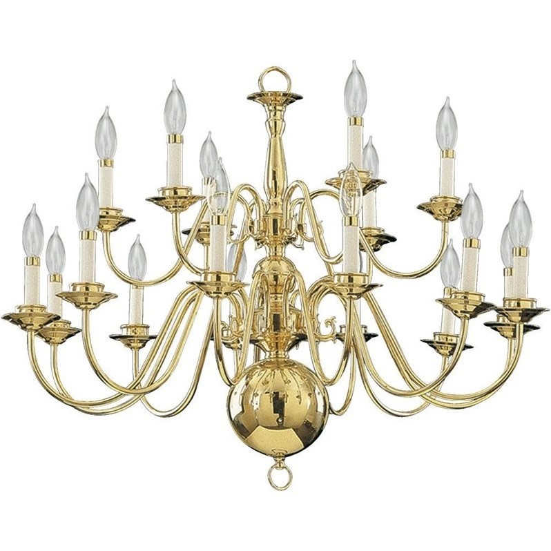 Quorum 18 Light Up Chandelier in Polished Brass