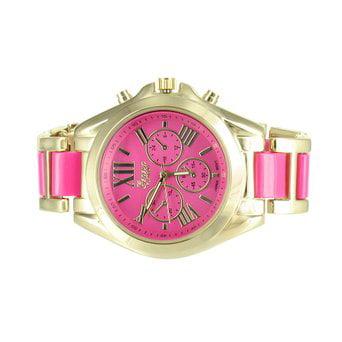 Pink Dial Womens Watch Gold Tone Geneva Platinum Watch Ladies Round Analog Sale by