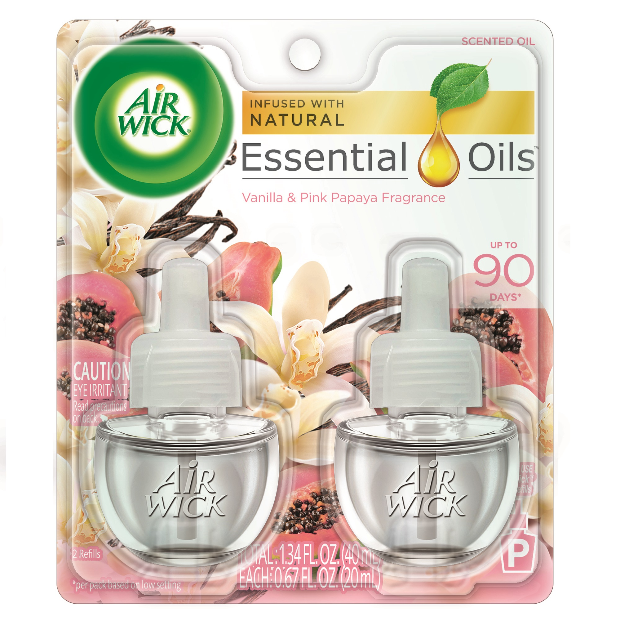 Air Wick Scented Oil 2 Refills, Vanilla & Pink Papaya, (2x0.67oz), Air Freshener