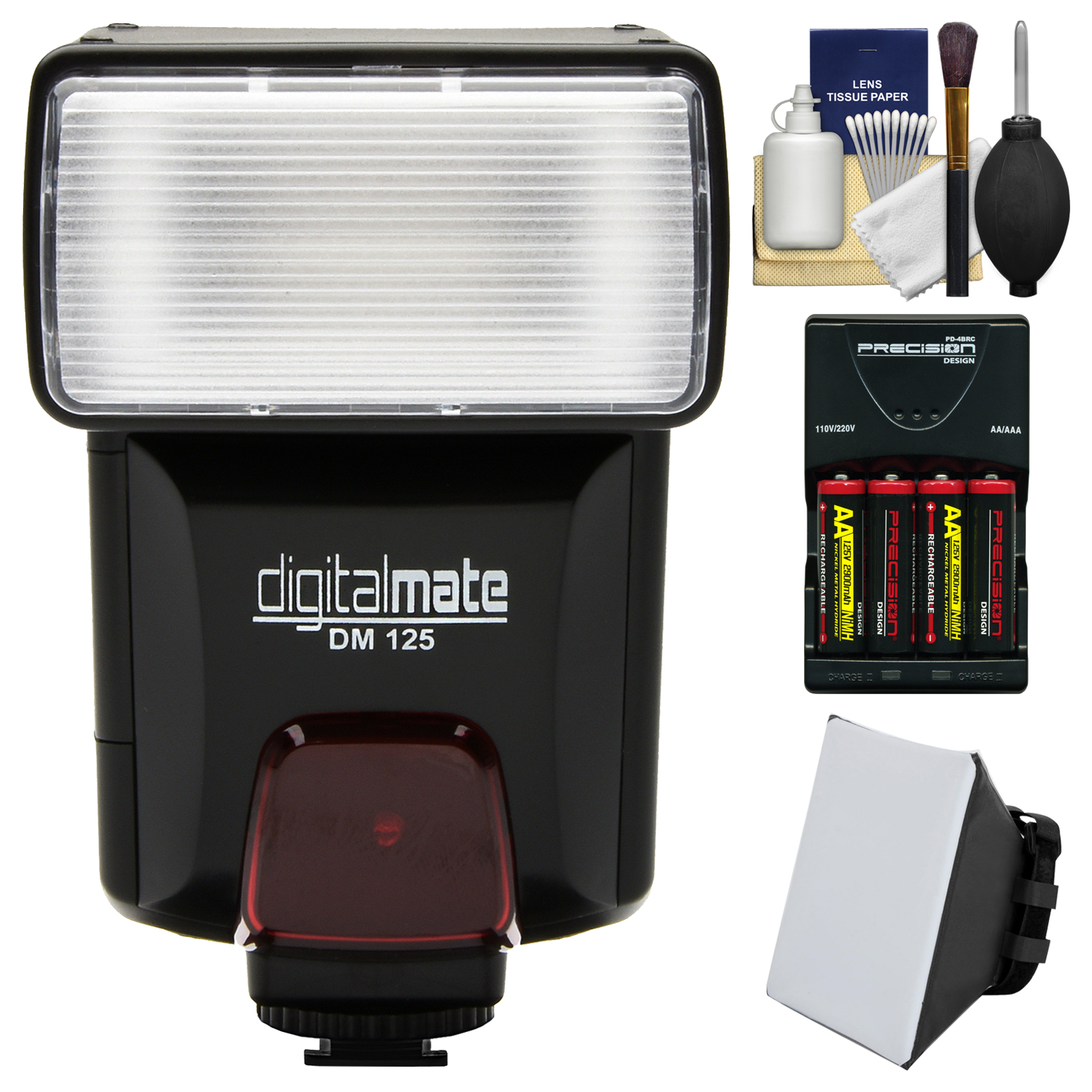 Digitalmate DM125 Universal Automatic Slave Bounce Flash with Soft Box Diffuser + Batteries & Charger + Kit