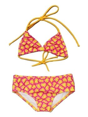 Little Girls Yellow Fuchsia Heart Print Halter Triangle 2 Pc Bikini Swimsuit 2T