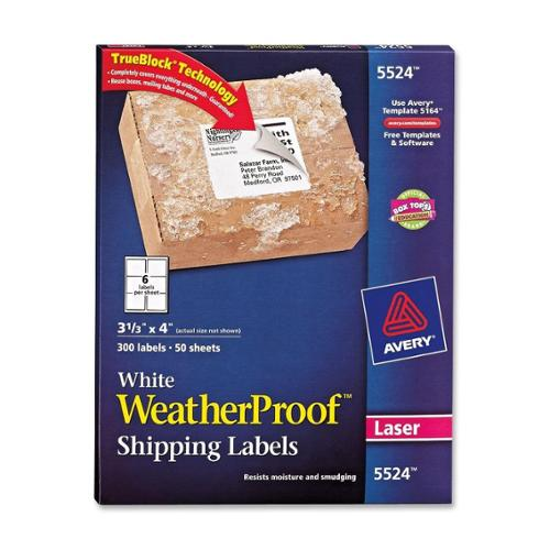 "Avery Weather Proof Mailing Label - 3.33"" Width X 4"" Length - 300 / Pack - Rectangle - 6/sheet - Polyester - Laser - White (AVE5524)"