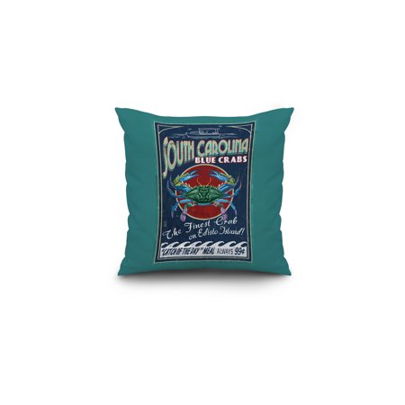 Edisto Beach South Carolina Blue Crabs Vintage Sign Lantern Press Artwork 16x16 Spun Polyester Pillow Custom Border