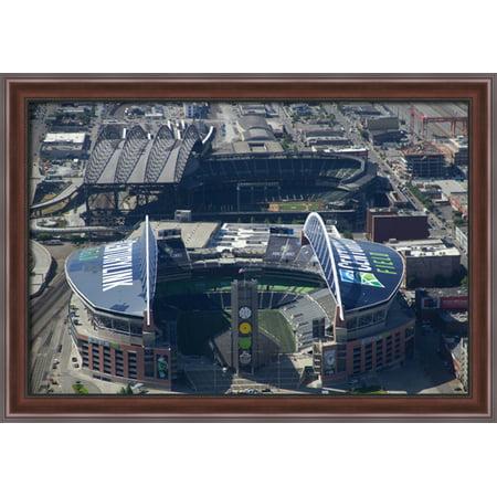 Centurylink Field 40X28 Large Walnut Ornate Wood Framed Canvas Art   Home Of The Seattle Seahawks