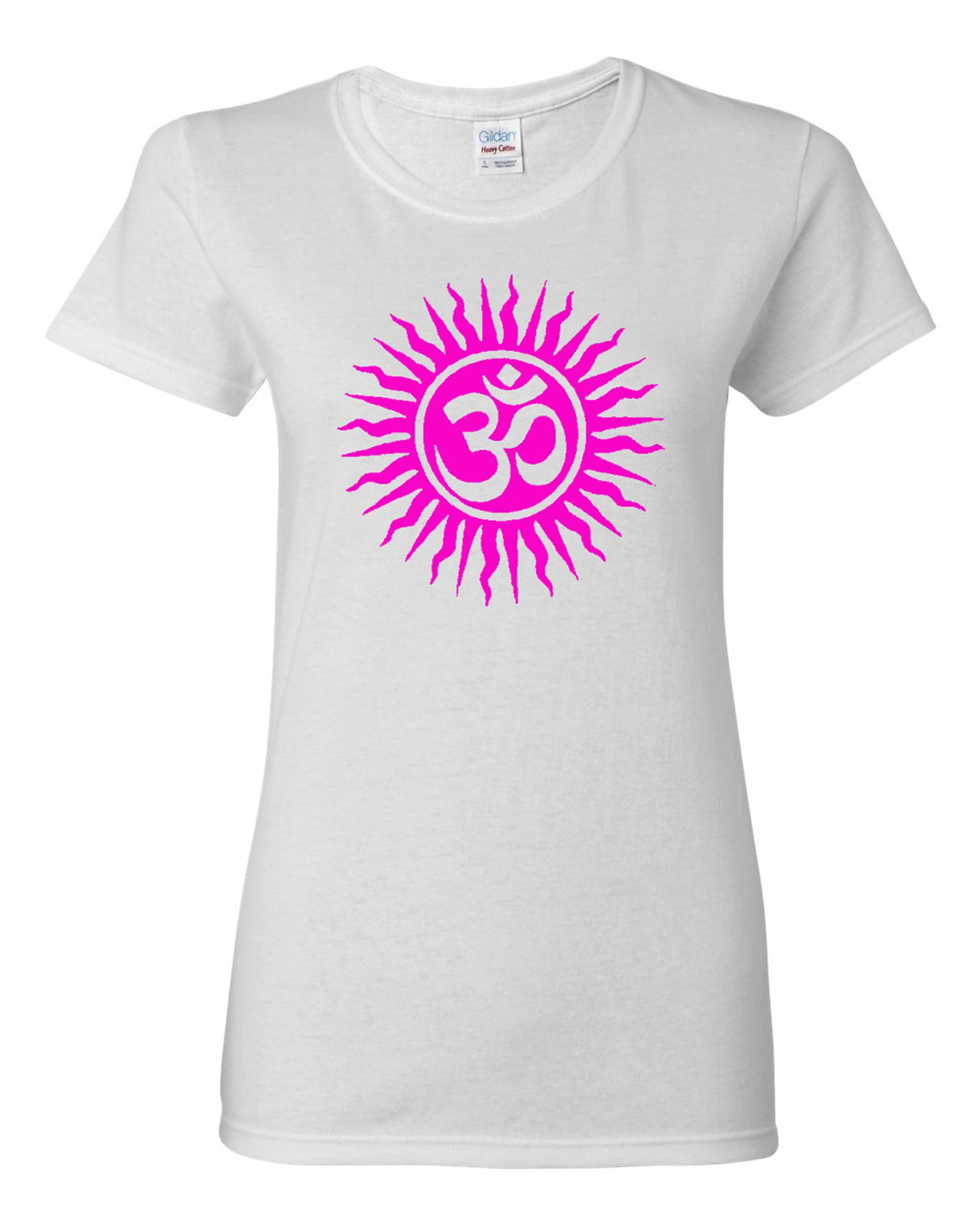 Ladies Om Aum Yoga Hindu Sanksrit T-Shirt Tee