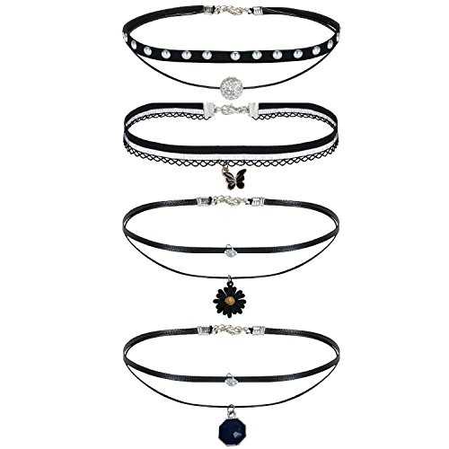 BodyJ4You® Choker Necklace Black Layered Braided Charm 4 Pieces