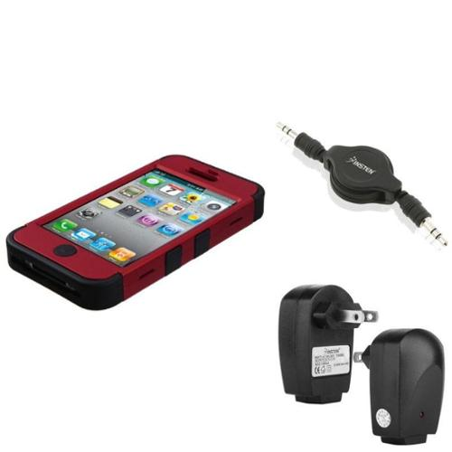 Insten Wall Charger+Audio Cable+For Apple iPhone 4/4S Black/Red Armor Hybrid Dual Layer Case