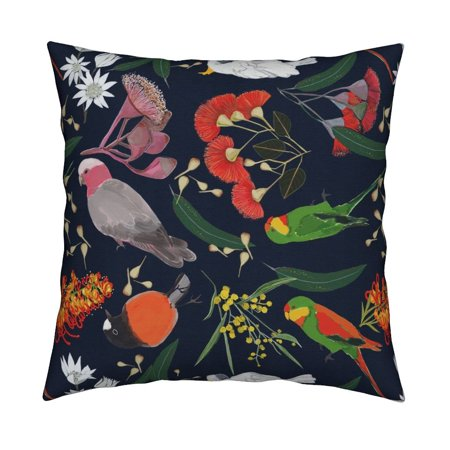 Birds Australian Plants Foliage Throw Pillow Cover w Optional Insert by Roostery