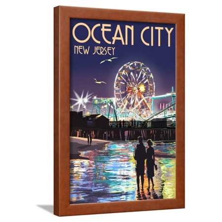 Ride Print Jersey - Ocean City, New Jersey - Pier and Rides at Night Framed Print Wall Art By Lantern Press