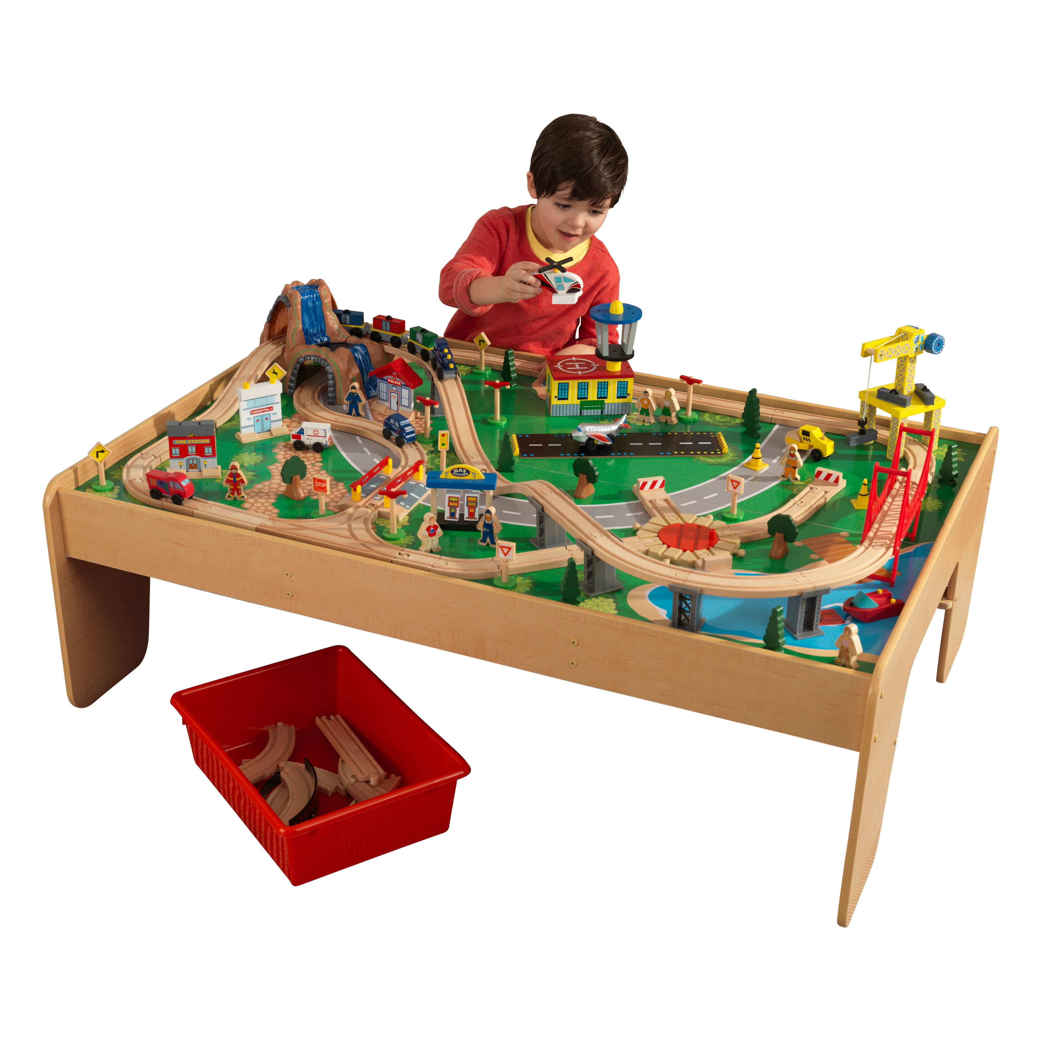 Exceptional KidKraft Waterfall Mountain Train Set U0026 Table With 120 Accessories Included