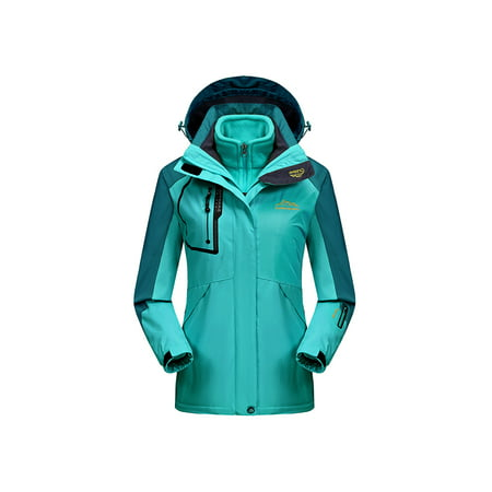 Womens Waterproof Ski Jacket 3-in-1 Windbreaker Winter Coat Fleece Inner for Rain Snow Outdoor