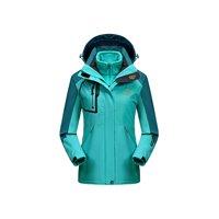 OutdoorJacket Women's Waterproof 3in1 Ski Jacket with Fleece Inner, Blue, Large