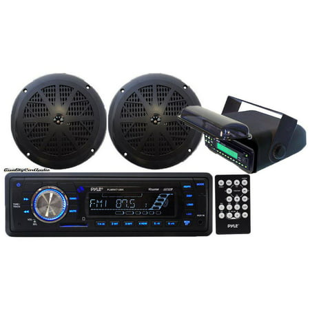 - Pyle - In-Dash Marine AM/FM Radio USB SD Aux-In for iPod/MP3 Stereo Player Receiver + 2 x 5.25 Speakers + Stereo Housing w/Full Chassis Wired Casing & Remote