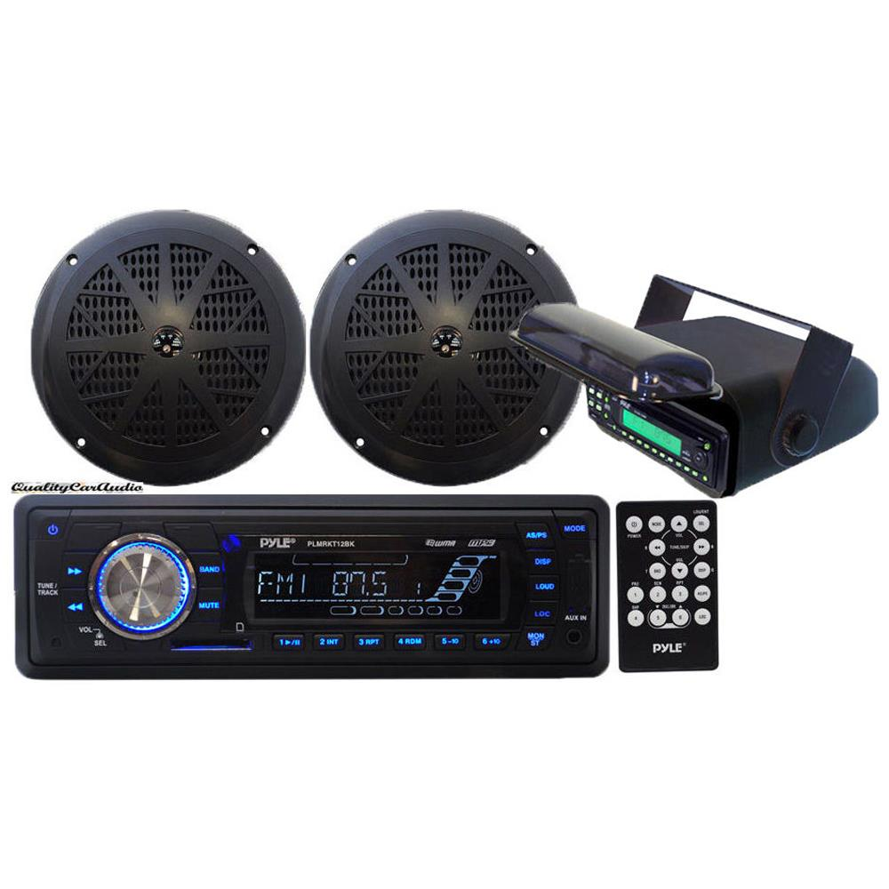 Pyle - In-Dash Marine AM/FM Radio USB SD Aux-In for iPod/MP3 Stereo Player Receiver + 2 x 5.25 Speakers + Stereo Housing w/Full Chassis Wired Casing & Remote