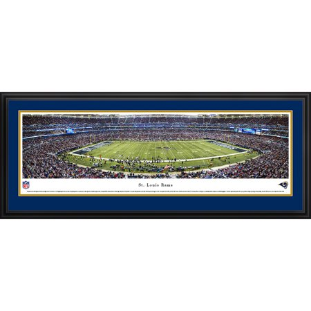 St. Louis Rams 50 Yard Line at Edward Jones Dome Blakeway Panoramas NFL Print with Deluxe Frame and Double Mat by