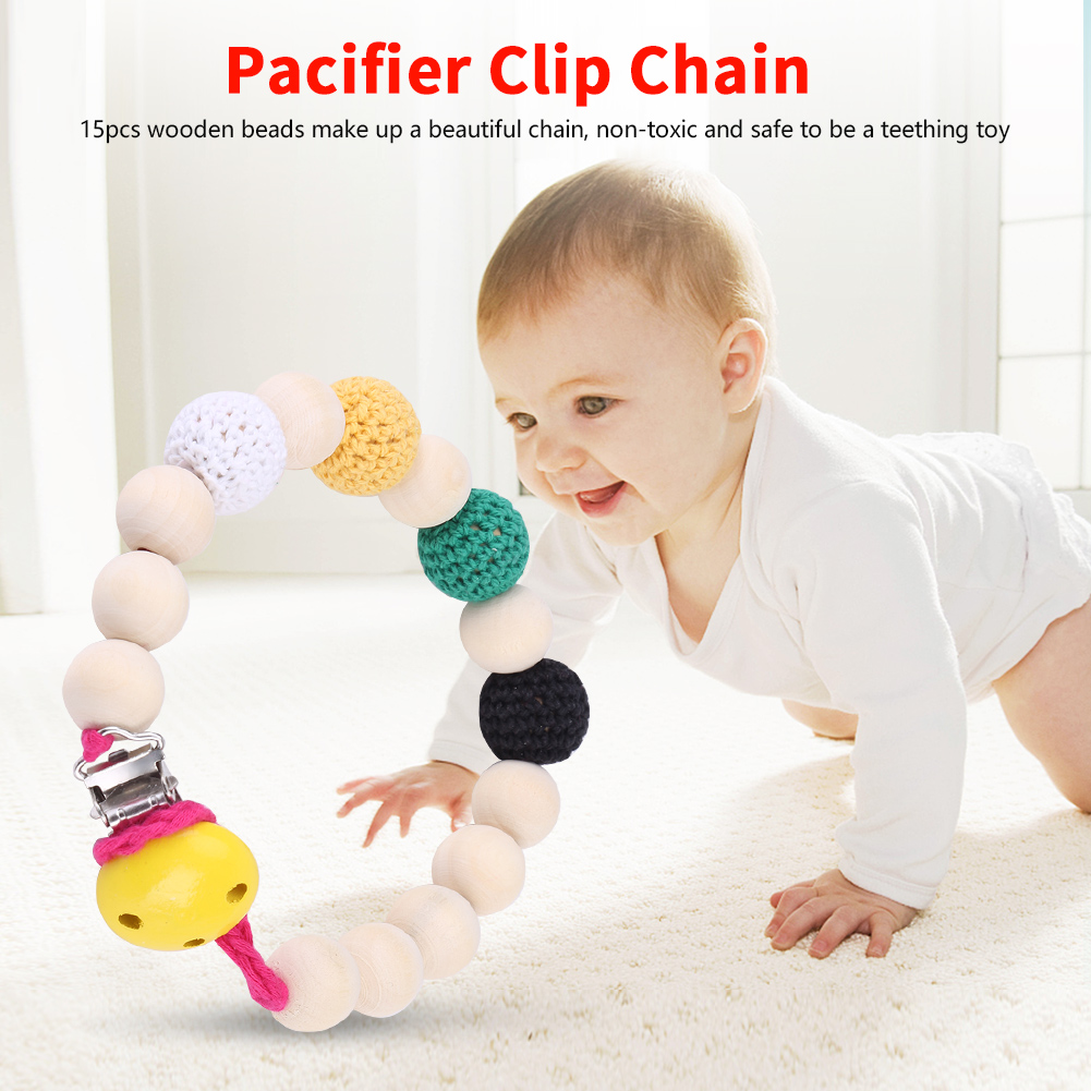 Infant Pacifier Soother Holder Crochet Wooden Beads Chain Metal Clip Baby Shower Feeding Toy, Pacifier Clip Chain, Pacifier Clip