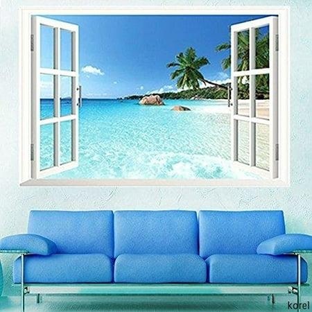 Large Removable Beach Sea 3D Window Decal WALL STICKER Home Decor Exotic Beach View Art Wallpaper Mural - image 1 de 4