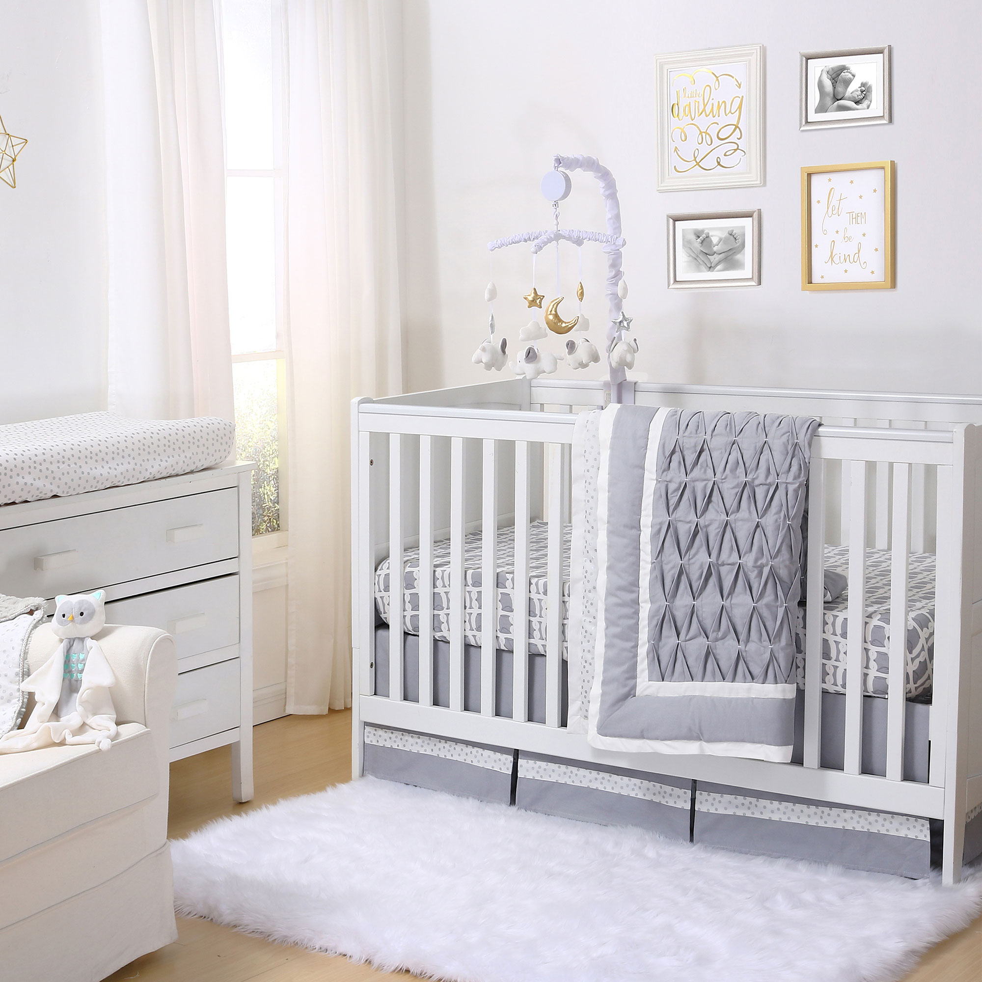 Grey Owl and Silver Dot Pleated 6 Piece Crib Bedding Set by The Peanut Shell