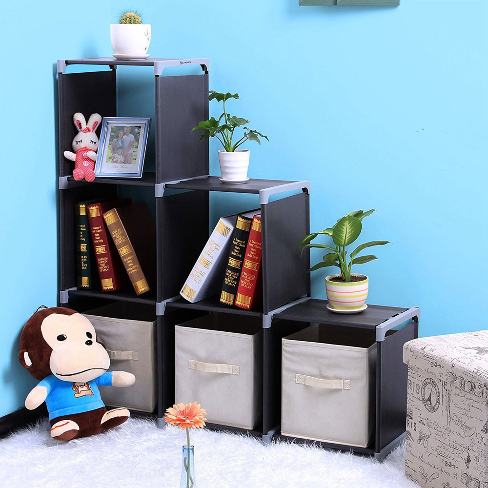 Peralng Multifunctional Assembled 3 Tiers 6 Compartments Storage Shelf Black