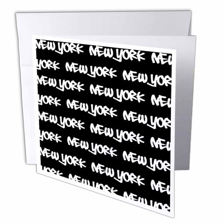 Souvenir Card Paper (3dRose New York text design - white words on black - NY city souvenir NYC cool urban graffiti font pattern, Greeting Cards, 6 x 6 inches, set of 12)