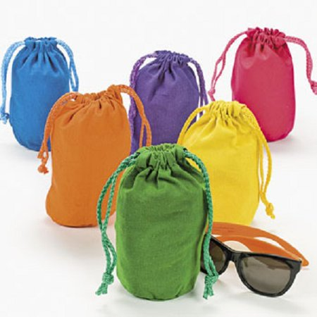 Lot of 12 Bright Color Drawstring Bags Loot Sack Party Favors - Homemade Halloween Loot Bags