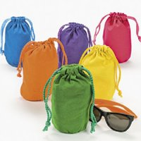 Lot of 12 Bright Color Drawstring Bags Loot Sack Party Favors