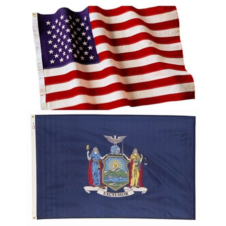 6x10 Embroidered American Flag & 6x10 New York State Flag Both Made In The USA ()