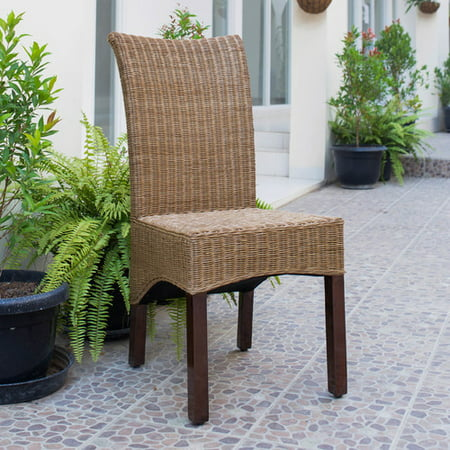 Rattan Finish Base (Campbell Rattan Wicker Stained Finish Dining Chair with Mahogany Hardwood Frame - Salak Brown)