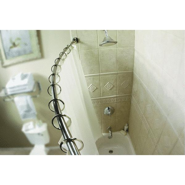 moen 54 in72 in adjustable curved shower rod with mounting plate