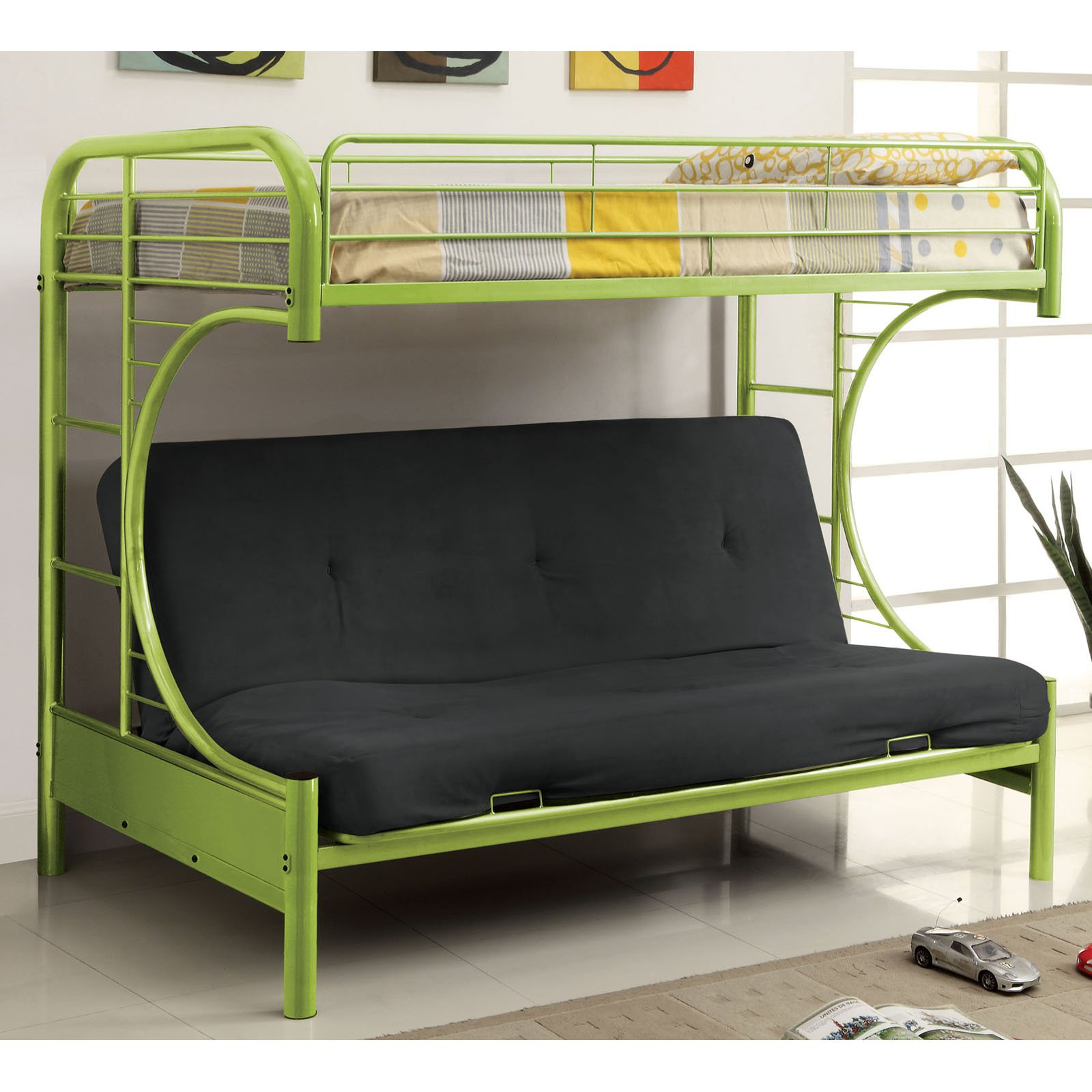 ravens contemporary twin over futon bunk bed - walmart