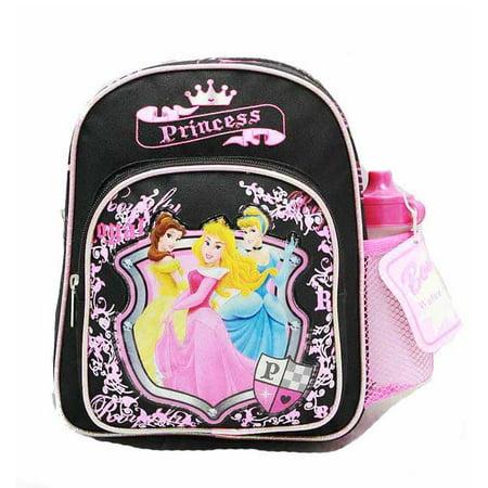 Mini Backpack - - Princess - w/Water Bottle Black New School Bag 35395