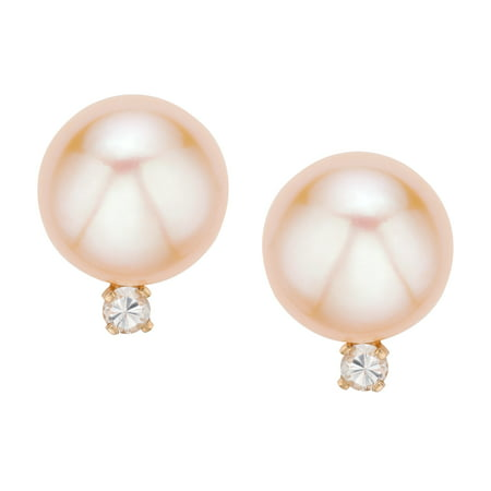 Pearlyta 14k Yellow Gold Pink Freshwater Button Pearl and 2pt TDW Diamond Earrings (H-I color, I1-I2 Clarity) 6-6.5mm - image 3 de 3