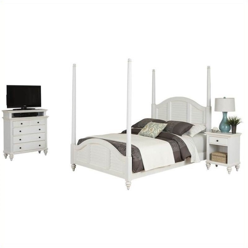 Bowery Hill Queen Poster Bed Nightstand and Media Chest White by Bowery Hill