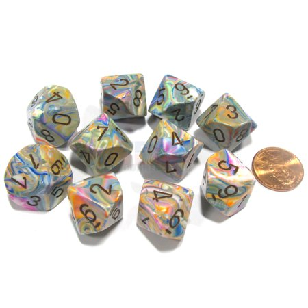 Chessex Set of 10 Festive D10 Dice - Vibrant with Brown Numbers #27241