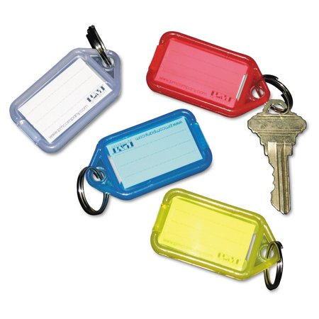 Acrylic Square Key Tag - Extra Color-Coded Key Tags for Key Tag Rack, 1 1/8 x 2 1/4, Assorted, 4/Pack