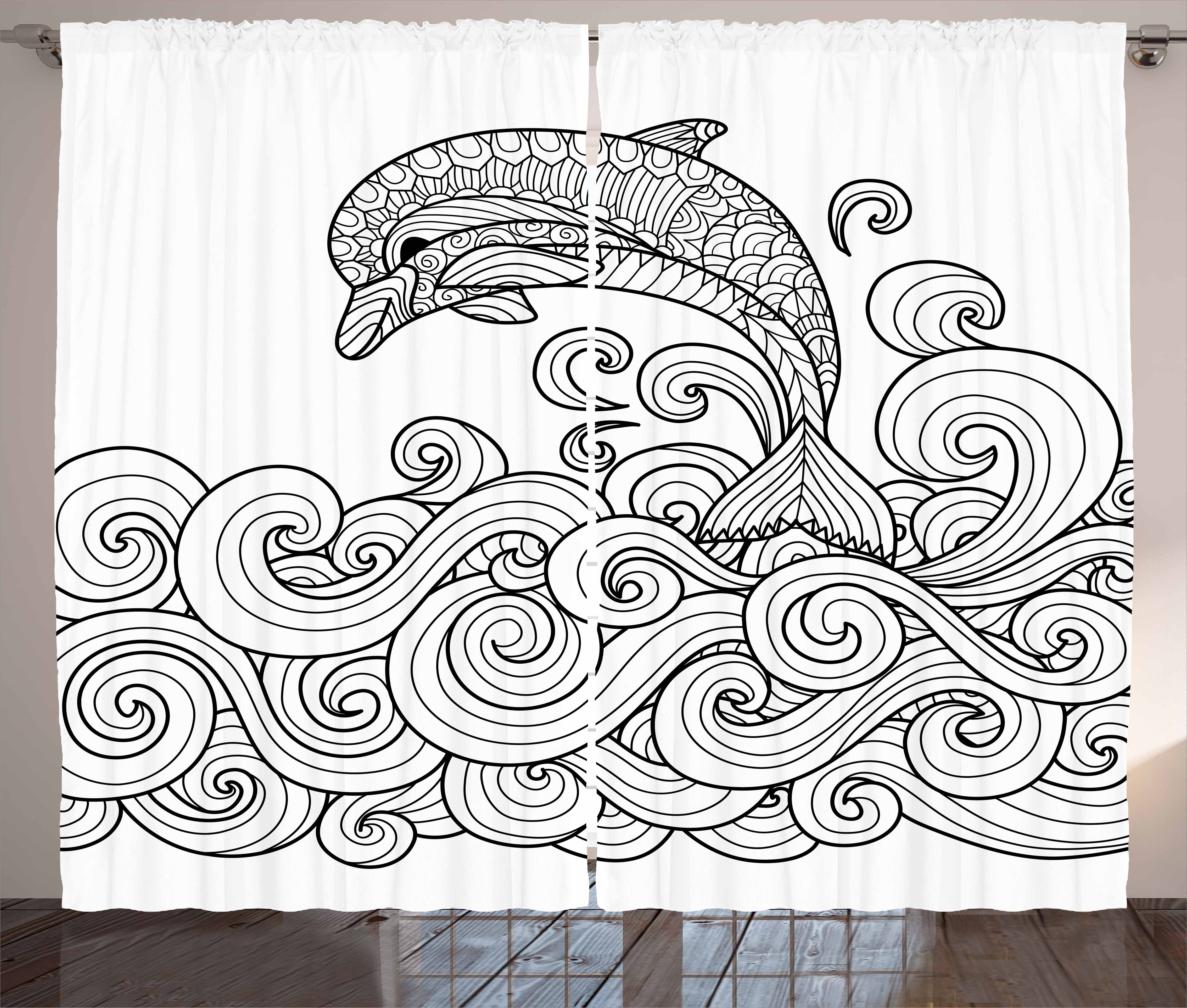 Dolphin Curtains 2 Panels Set Black And White Zentangle Nautical