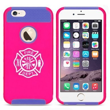 Apple iPhone 6 Plus / 6s Plus Hybrid Shockproof Impact Hard Cover / Soft Silicone Rubber Inside Case Fire Department Maltese Cross (Hot Pink-Blue),MIP