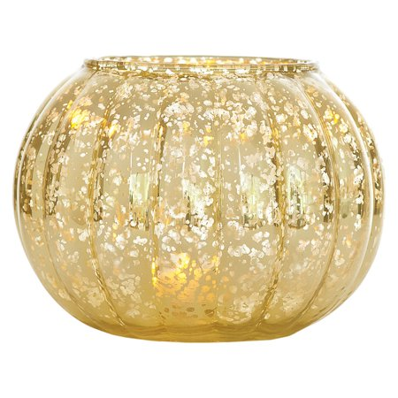 Large Vintage Mercury Glass Vase and Candle Holder (5-Inch, Autumn Design, Gold) - Decorative Flower Vase and Candle Holder - For Parties, Weddings, and Homes (Large Glass Candle Holders)