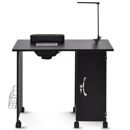Gymax Manicure Nail Table Station Black Steel Frame Beauty Spa Salon Equipment (Station Equipment)