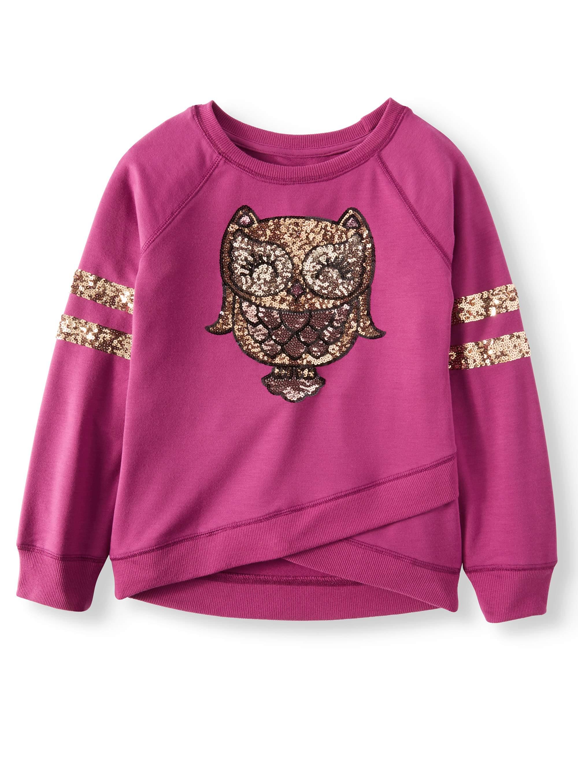 Sequin Owl Cross Front Varsity Sweatshirt (Big Girls)