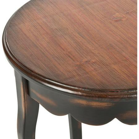 Java Slide - Safavieh Kailey Round Side Table, Distressed Java Nutmeg Finish