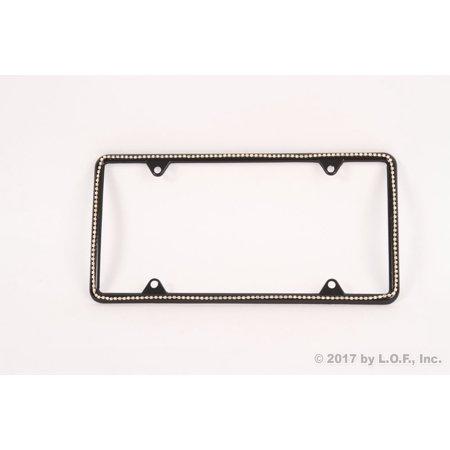 Clear Diamond Silver Bling Jewel Slim Black License Plate Frame Auto Truck Car