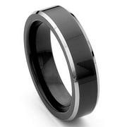 Titanium Kay Black Tungsten 6mm Comfort-Fit Beveled Mens Wedding Band Ring Sz 10.0