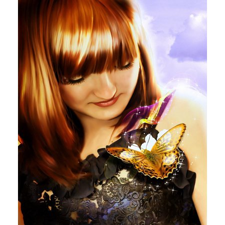 LAMINATED POSTER Butterfly Magic Processing Young Fairytale Girl Poster Print 24 x - Fairytale Girl Characters