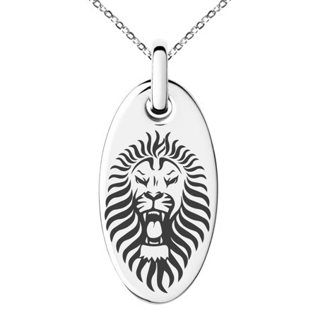 Stainless Steel Pharaoh Lion King Engraved Small Oval Charm Pendant Necklace