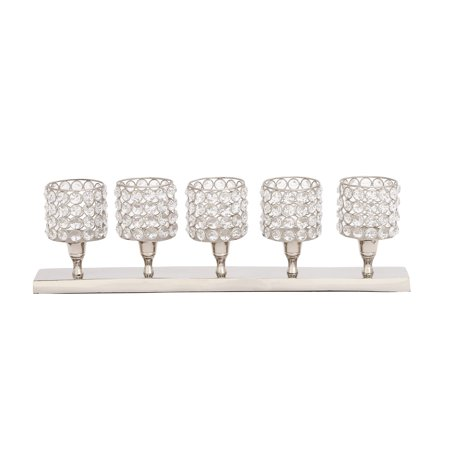 Decmode Glam 6 X 21 Inch Rectangular Aluminum, Iron and Crystal Five-Light Votive Candle Holder, Silver ()