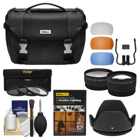 Nikon Deluxe DSLR Camera Case + Tele/Wide Lenses + 52mm UV/CPL/ND8 Filters & Hood + Lighting DVD Kit for D3200, D3300, D5300, D5500 & 18-55mm VR Lens