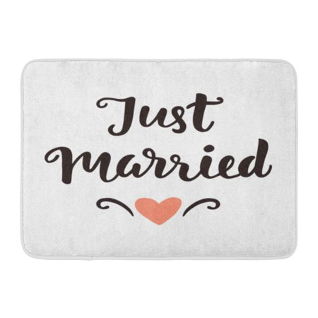SIDONKU Letter Just Married Wedding Lettering Modern Vintage Black Marriage Doormat Floor Rug Bath Mat 23.6x15.7 inch - Wedding Welcome Letter
